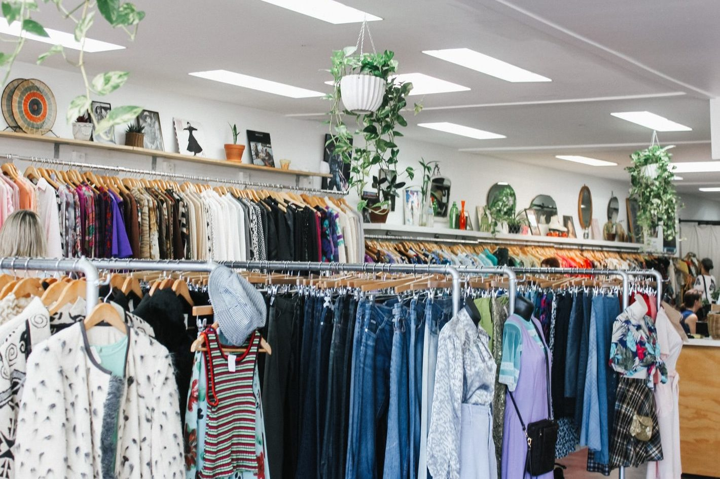assorted-color clothes hanged inside department store with lights turned on
